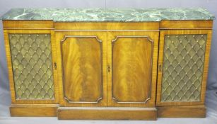 A FINE QUALITY REPRODUCTION BREAKFRONT CREDENZA with marble top and grill doors to the sides,