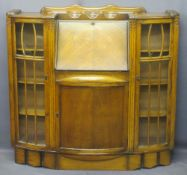 SIDE BY SIDE BUREAU CUPBOARD with carved detail and glazed doors to the side