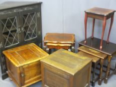 VINTAGE PINE POT CUPBOARD, quantity of occasional tables, display cabinet with leaded glass doors