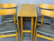 MID-CENTURY TEAK GATELEG TABLE, 72cms H, 37cms W, 81cms D (153cms open) and a set of four black