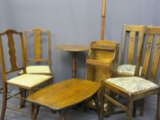 VINTAGE STICK STAND, a pair of salon type chairs, two polished dining chairs, an occasional table, a