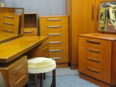 G PLAN TEAK MID-CENTURY BEDROOM FURNITURE comprising two door wardrobe, 175cms H, 91cms W, 59cms
