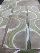MODERN RUGS - 'Mirage' by Dunelm, beige/lime, 240 x 340cms and three matching runners, 60 x 230cms