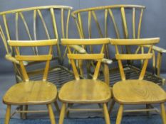 ERCOL ORIGINALS LIGHT ELM DINING CHAIRS (3) and a pair of vintage wing back easy chairs