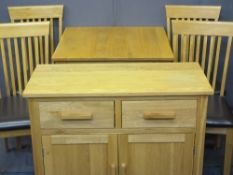 MODERN LIGHT OAK EFFECT DINING SUITE comprising of narrow sideboard, 82.5cms H, 92cms W, 42.5cms