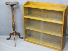 BOOKSHELF WITH SLIDING GLASS DOORS, 105cms H, 81cms W, 90cms D and a period mahogany planter