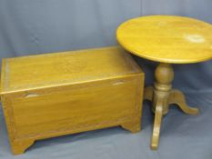 CAMPHORWOOD CHEST, light wood with carved detail, 51cms H, 92cms W, 46cms D and a light wood