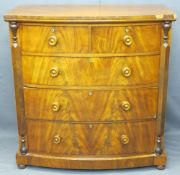 VICTORIAN MAHOGANY BOW FRONTED CHEST of two short over three long drawers, 111cms H, 106cms W, 58cms