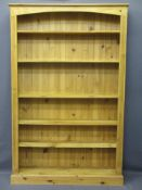RUSTIC PINE BOOKCASE with adjustable shelves, 200cms H, 127cms W, 28cms D
