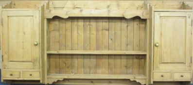 FARMHOUSE PINE ANTIQUE STYLE WALL HANGING RACK/CUPBOARD, 113cms H, 232cms W, 30cms D