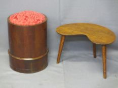 VICTORIAN MAHOGANY CYLINDRICAL STOOL with padded seat (formally a commode) and a 1950s walnut kidney