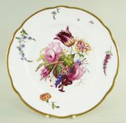 A NANTGARW PORCELAIN PLATE WITH LARGE SPRAY OF FLOWERS of lobed circular form and with gilded rim,