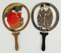 A RARE PAIR OF CARVED & PAINTED STORY-TELLING PADDLES BY VALE OF CLWYD TOYS circa 1915, depicting