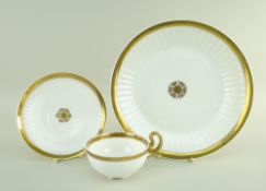 A SWANSEA PORCELAIN PARIS FLUTE BREAD PLATE & BREAKFAST CUP & SAUCER the plate of circular form,