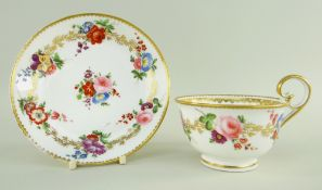A NANTGARW PORCELAIN BREAKFAST CUP & SAUCER being the type with inverted heart-shaped handle curving