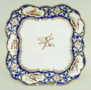 A NANTGARW PORCELAIN SQUARE DISH FROM THE CARDIFF CASTLE SERVICE of cruciform with alternating lobed