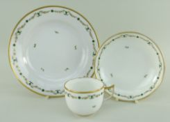A SWANSEA PORCELAIN PART TEA SERVICE, glassy porcelain, comprising circular dish, 21cms diam, teacup