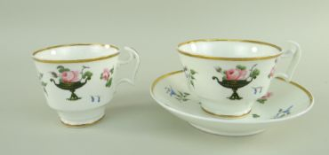 A SWANSEA PORCELAIN TRIO attributed to William Billingsley, painted with pink rose sprigs resting on