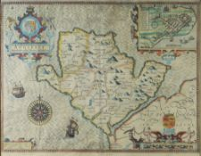 JOHN SPEED coloured antiquarian map of Anglesey 'Antiently called Mona' dated 1610, with inset of