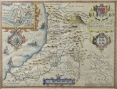 JOHN SPEED coloured antiquarian map of Cardigan Shyre 'described with the due forme of the Shire-