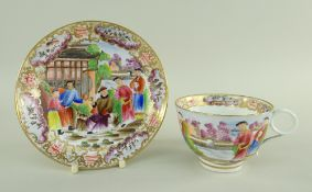 A SWANSEA PORCELAIN CHINOISERIE MANDARIN CUP & SAUCER the cup with ring and scroll handle,