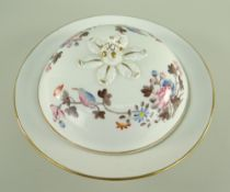 A SWANSEA PORCELAIN MUFFIN DISH & COVER of circular form with flared rim in the Kingfisher