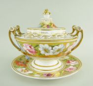 A NANTGARW PORCELAIN TUREEN FROM THE MARQUIS OF ANGLESEY SERVICE circular based with upturned
