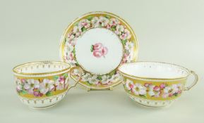 A SWANSEA PORCELAIN TRIO painted with circling anemone to a gold band reserve, the interior with