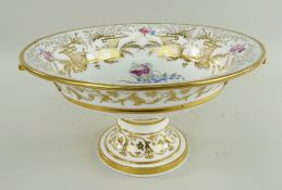 AN IMPRESSIVE SWANSEA GILDED & FLORAL PORCELAIN TAZZA circular based with flared body and twin
