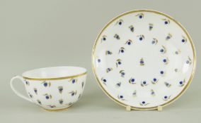 A NANTGARW PORCELAIN HENSOL CASTLE CUP & SAUCER painted with scattered blue enamel berries and