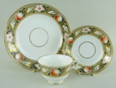 A SWANSEA PORCELAIN PART TEA SERVICE comprising breakfast cup and saucer with circular plate,