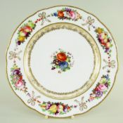 A NANTGARW PORCELAIN PLATE IN THE SEVRES STYLE of circular lobed form, in white ground with a border
