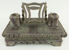 A NINETEENTH CENTURY DYFFRYN OGWEN SLATE DESK STAND of three-piece rectangular form, raised on