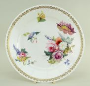 A SWANSEA PORCELAIN PLATE DECORATED BY HENRY MORRIS of non-moulded circular form, floral painted