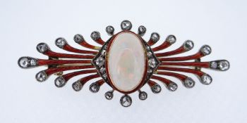 ART DECO OPAL & DIAMOND SET ENAMELLED BROOCH the central oval cabochon opal (1.3 x 0.8cms) flanked