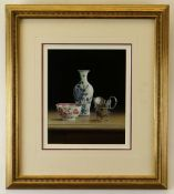 TIMOTHY GUSTARD (b. 1954) acrylic - still life of antique silver jug and porcelain entitled 'Peeping