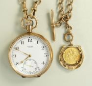 9CT GOLD OPEN FACED ROLEX POCKET WATCH engraved to inner cover 'To W. J. Samways Esq From His