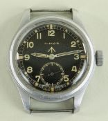 TIMOR WWII MILITARY ISSUE DIRTY DOZEN WRISTWATCH the black dial having luminous Arabic numerals