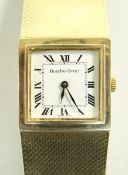 9CT GOLD BUECHE GIROD GENTS WRISTWATCH having square enamel dial with Roman numeral chapter ring,