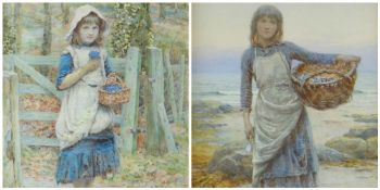 HENRY JAMES JOHNSTONE (1835 - 1907) watercolours, a pair - entitled 'The Harvest Of The Rocks',