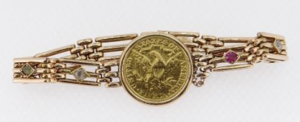 1886 LIBERTY HEAD GOLD FIVE DOLLAR mounted in a 15ct gold gate-link bracelet, four of the links