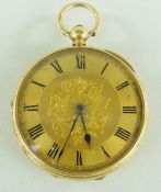 18CT GOLD OPEN FACED POCKET WATCH, key wind having Roman numeral chapter ring, heart, foliate and
