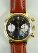 RARE GENTLEMAN'S HEUER CHRONOGRAPH WRISTWATCH, c. 1960s, ref. 7721 with reverse 'panda' dial,