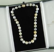 TAHITIAN SOUTH SEA PEARL NECKLACE with 18ct gold diamond set spherical ball clasp, 33 x 12-14mms
