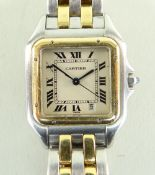 LADIES CARTIER PANTHERE BI-METAL WRISTWATCH in stainless steel and gold, square dial with Roman