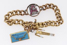 18CT GOLD CABLE LINK BRACELET with centrally mounted diamond and ruby initials 'A E' and two