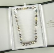 TAHITIAN SOUTH SEA PEARL NECKLACE with 18ct gold diamond set oval ball clasp, 33 mixed natural