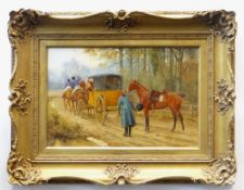 GEORGE GOODWIN KILBURNE (1839 - 1924) oil on panel - a highwayman and carriage entitled 'Au