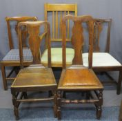 FOUR ANTIQUE OAK SIDE CHAIRS and a vintage oak armchair, various styles, dates and measurements