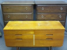 STAG MINSTREL MULTI-DRAWER CHESTS (2), 112cms H, 82cms W, 46cms D and a mid-century six drawer